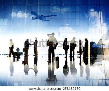 Business People Corporate Airport Terminal Travel Concept - stock photo