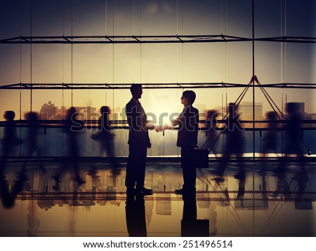 Business People Corporate Connection Greeting Handshake Concept - stock photo