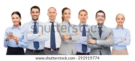 business, people, corporate, teamwork and office concept - group of happy businesspeople with crossed arms - stock photo