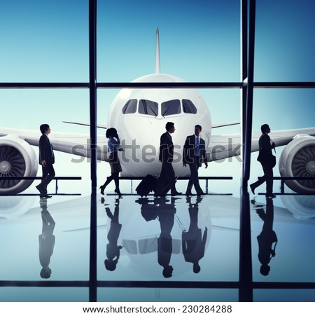 Business People Corporate Travel Airport Concept - stock photo