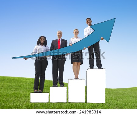 Business People Development Growth Performance Increase Victory Concepts - stock photo