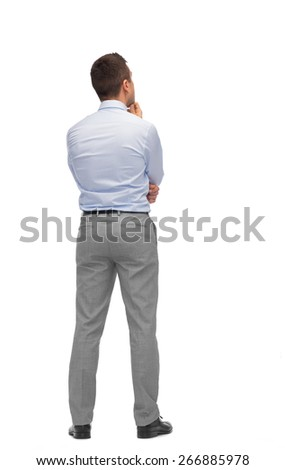 business, people, dilemma, rear view and office concept - businessman thinking from back - stock photo