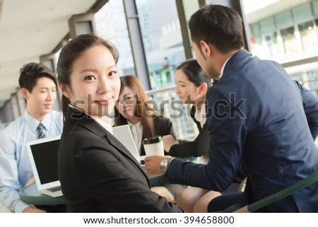 Business people discuss or meeting in the city - stock photo