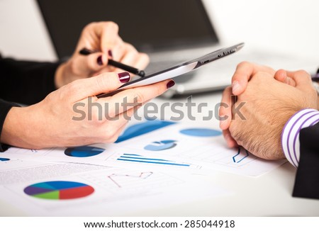 Business people discussing during a meeting - stock photo