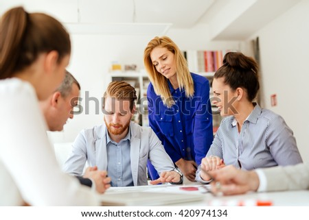 Business people discussing future plans in modern office
