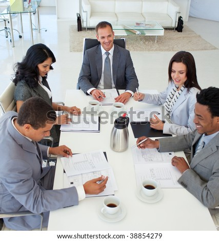 Business people discussing in a meeting a plan
