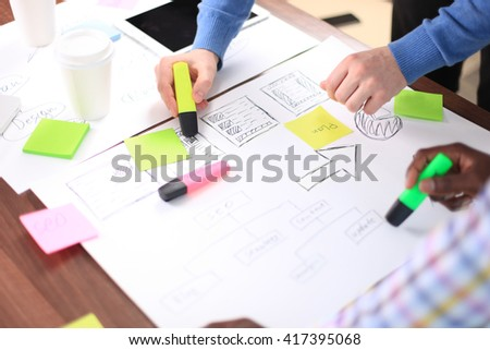 Business people diverse brainstorm meeting - stock photo