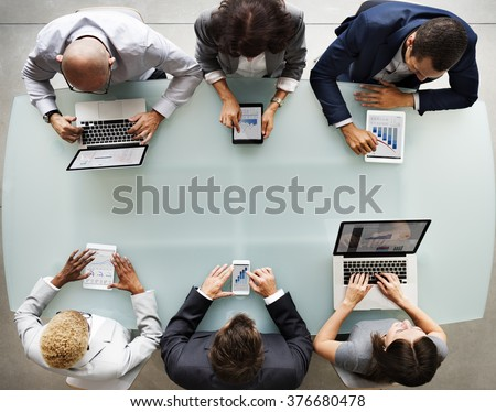 Business People Diverse Electronic Devices Concept - stock photo
