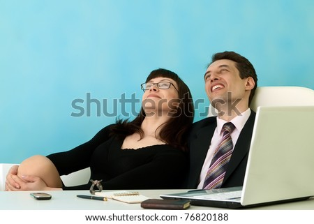 Business people dream about idea - stock photo
