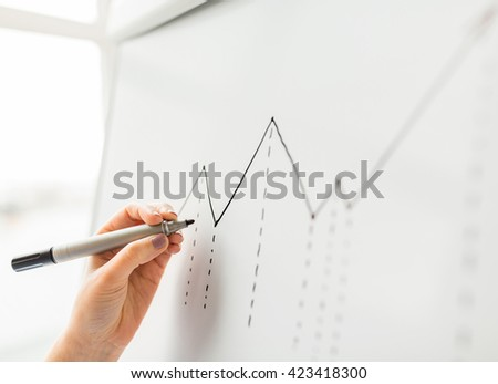 business, people, economics, analytics and statistics concept - close up of hand with marker drawing graph on office flip chart - stock photo