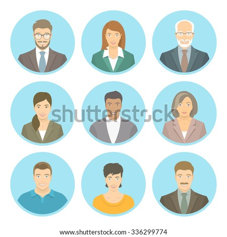Business people flat avatars, women and men, in suits and casual clothes. Male and female profile icons of different ages and lifestyle. Attractive friendly multiracial faces at round portraits - stock photo