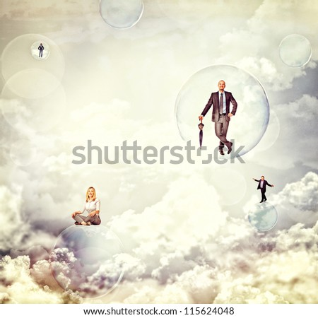 business people fly over soap bubble - stock photo