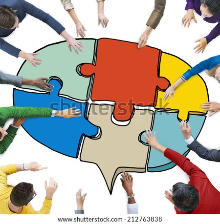 Business People Forming a Jigsaw Puzzle Speech Bubble
