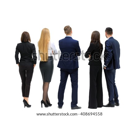 business people from the back - looking at something over a white background - stock photo