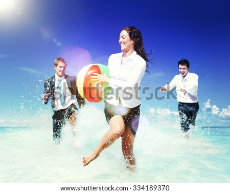 Business People Fun Playing Beach Travel Concept - stock photo