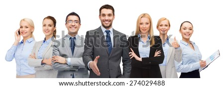 business, people, gesture and office concept - group of smiling businessmen showing thumbs up