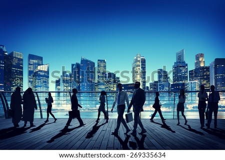 Business People Global Commuter Walking City Concept - stock photo
