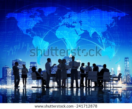 Business People Global Meeting Finance Corporate Communication Concept - stock photo