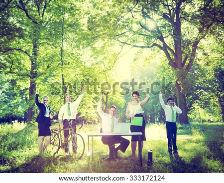 Business People Green Business Success Outdoors Concept - stock photo