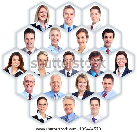 Business people group collage. Abstract honeycomb background.