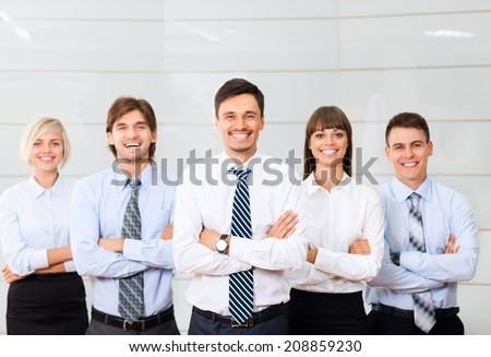 Business people group happy smile standing line at office, businesspeople row colleague team leader boss folded hands