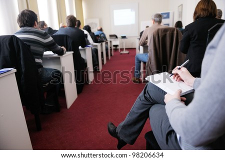 business people group have education leasson on seminar training event at small bright office conference room - stock photo