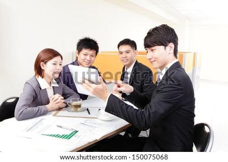 business people group meeting and using touchpad at office, asian people - stock photo