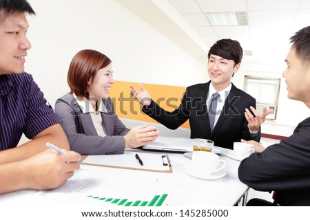 business people group meeting at office, asian people - stock photo