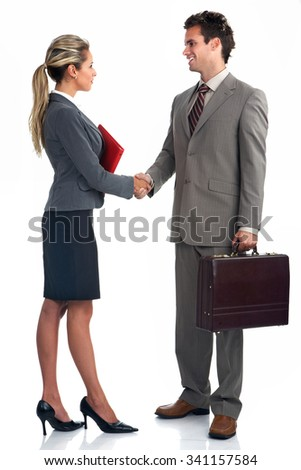 Business people group meeting isolated over white background. - stock photo