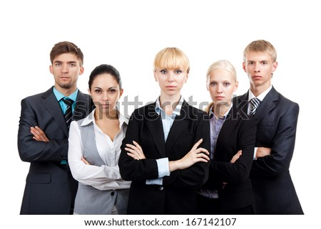 Business people group serious standing line, businesspeople row colleague team leader, human resources boss folded hands isolated over white background