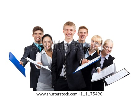 Business people group team hold documents clipboard sign up contract concept, young businesspeople standing together smile, Isolated over white background - stock photo