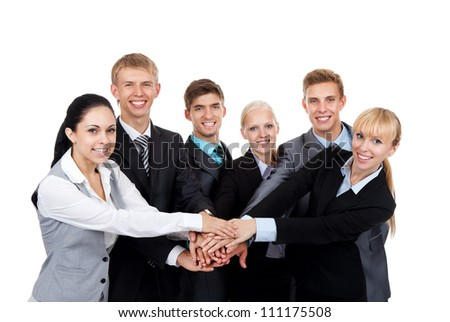Business people group team hold pile hands, young businesspeople putting their hand on top each other, meeting looking at camera, concept team, working together smile, Isolated over white background - stock photo