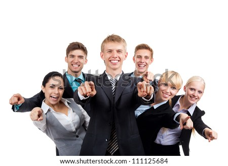 Business people group team point finger at you, young businesspeople standing together happy smile, Isolated over white background - stock photo