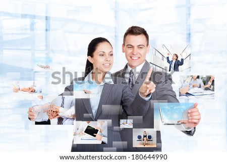 Business people group team working with virtual touch screens smile, businessman and businesswoman touch businesspeople icons, concept virtual conference meeting, communication technology interface