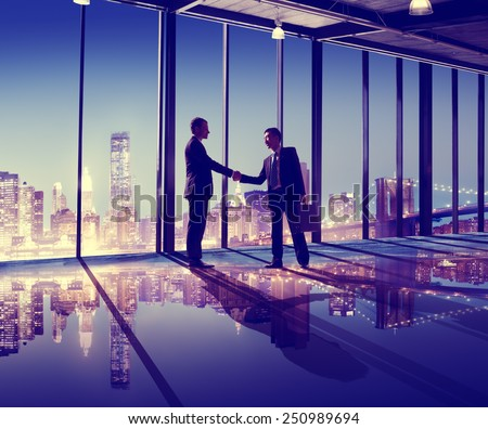 Business People Hand Shake Office City Concept - stock photo