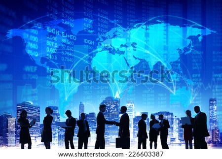 Business People Hand Shake Stock Exchange City Concept