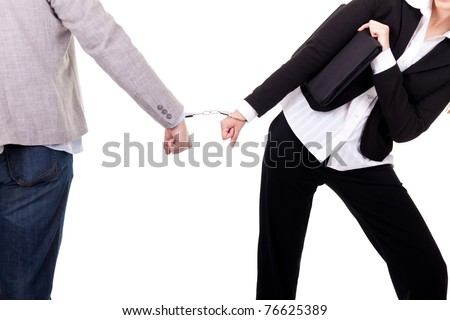 business people handcuffed together, isolated on white - stock photo