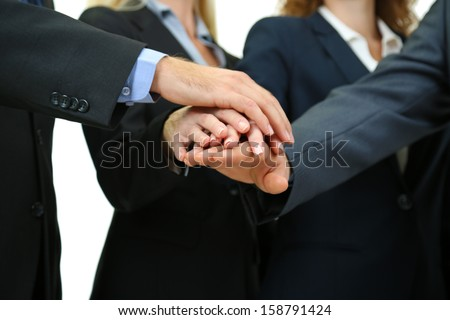 Business people hands close up