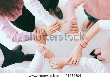 Business people hands, top view. Teamwork concept. - stock photo