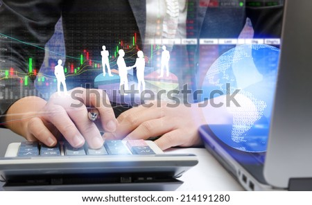 Business people hands working with financial concept - stock photo