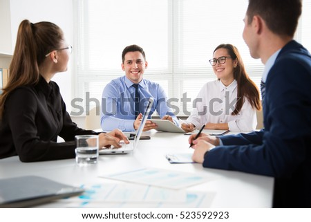 Business people having a meeting in a modern office