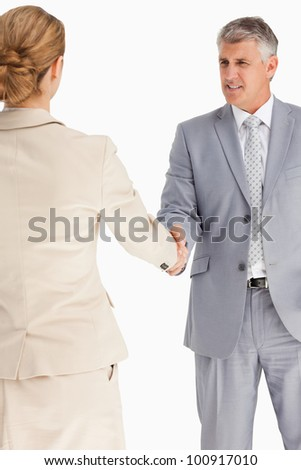 Business people having an agreement against white background - stock photo