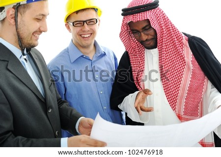 Business people having consultanting about new project at Middle east - stock photo