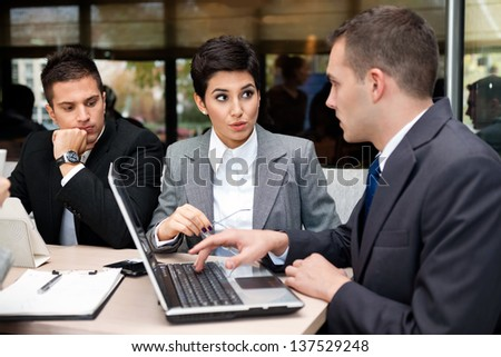 Business people having discussion on meeting - stock photo