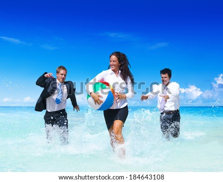 Business People Having Fun In The Water  - stock photo