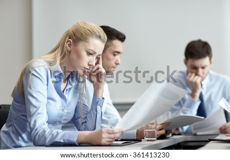 business people having problem in office - stock photo