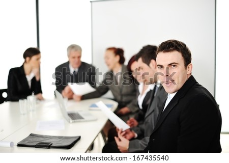 Business people having working meeting at office
