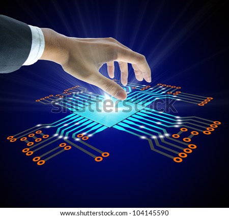 Business people hold the Circuit board - stock photo