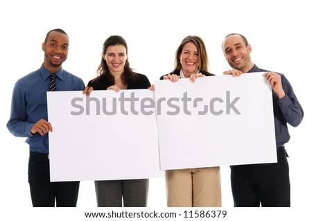 business people holding a white piece of cardboard