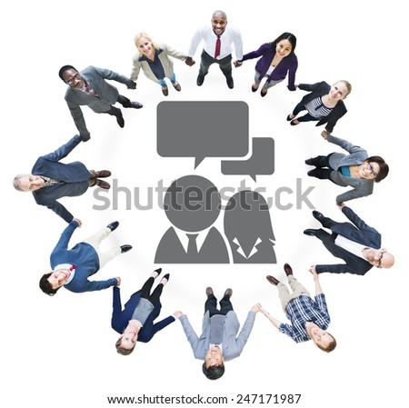 Business People Holding Hands and Communication Concepts